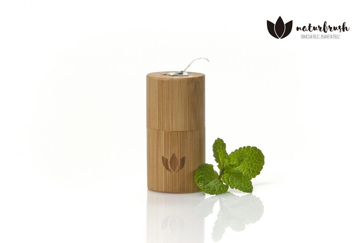 hilodental de menta en estuche de bambu